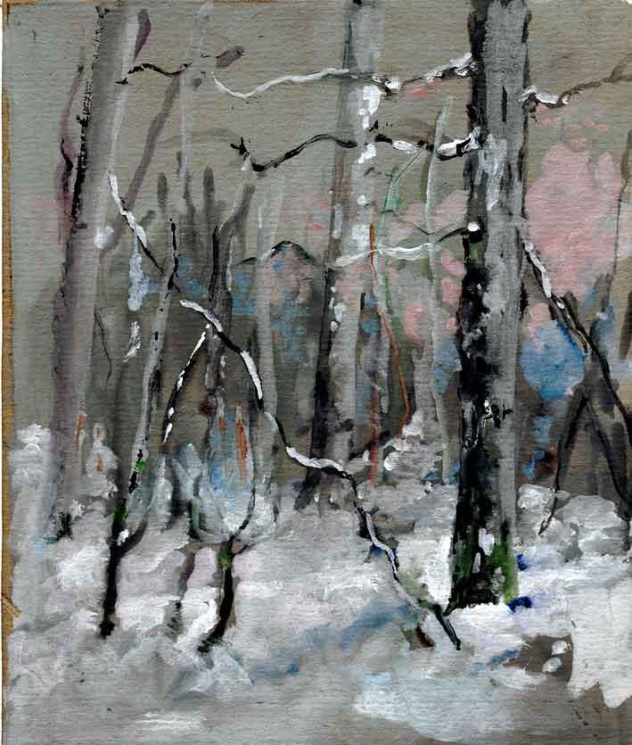 gouache d'un sous-bois sous la neige