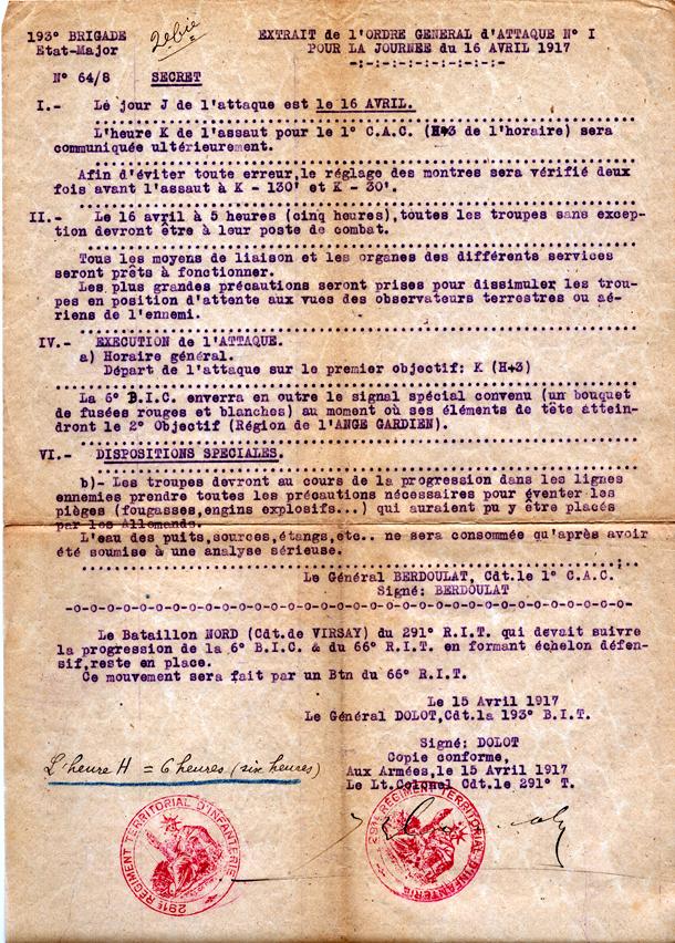ordre d\\\\\'attaque du 16 avril 1917