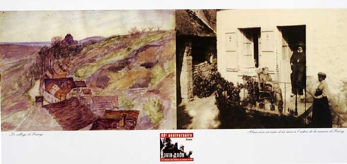 aquarelle d'Alain et sa maison vers 1908