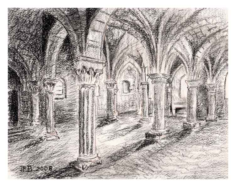 Vertus, crypte Saint-Martin, fusain