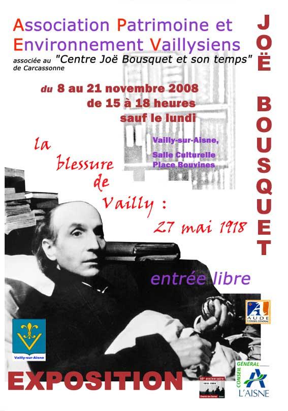 Affiche relative à Joë Bousquet et Vailly