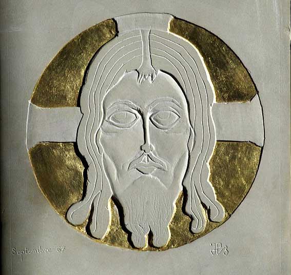 ciselure d'une tête de Christ dans le calcaire