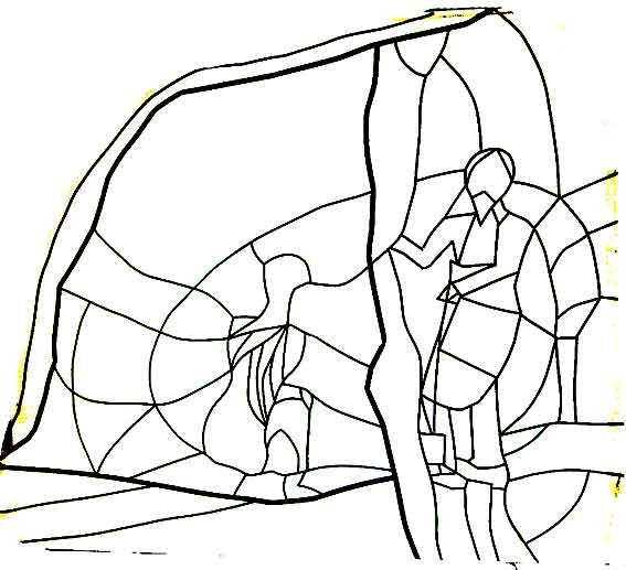 projet d'un vitrail racontant l'apparition du Christ