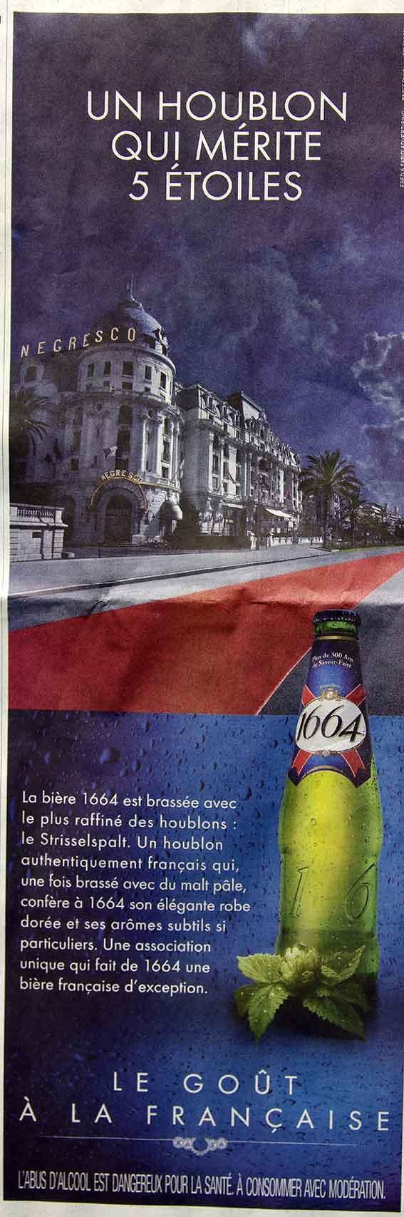 publicité pour la bière 1664