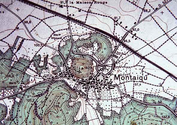 cartographie IGN de la butte et village de Montaigu