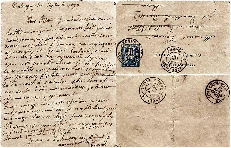 Lettre d'un berger champenois à son patron en 1899