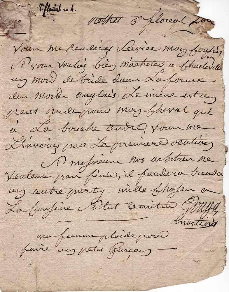 Lettre du 25 avril 1796