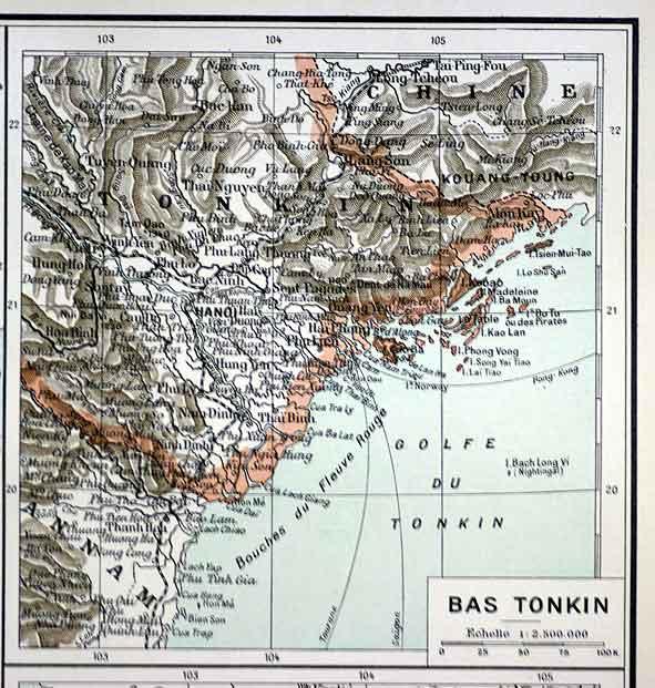 le Tonkin sur une carte d'atlas en 1923