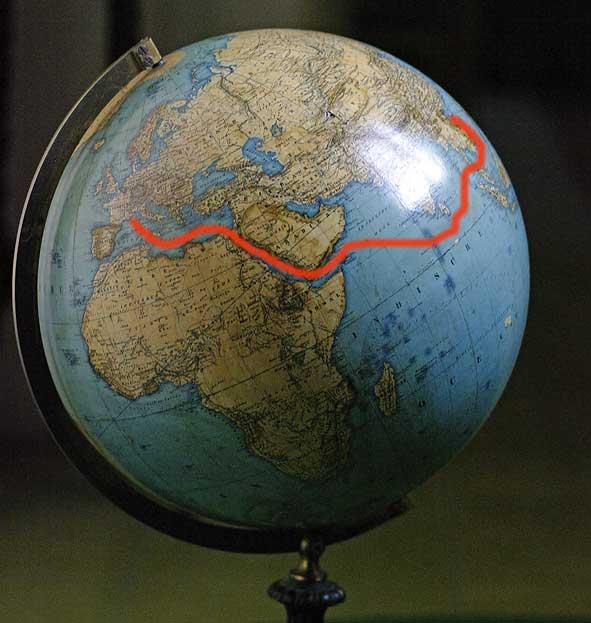 France et Tonkin sur un globe allemand de 1869