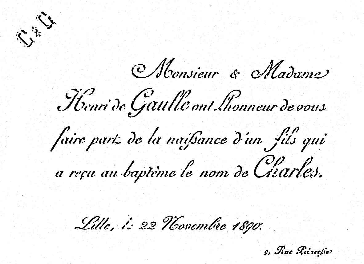 faire-part de naissance de Charles de Gaulle