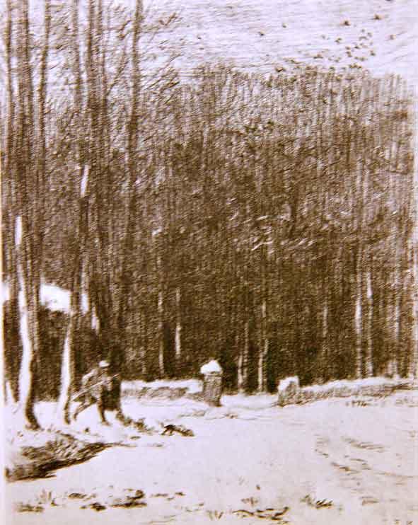 Millet, 'La porte aux vaches par temps de neige'