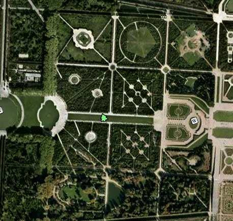 les jardins de Versailles d'après Google Earth en 2010