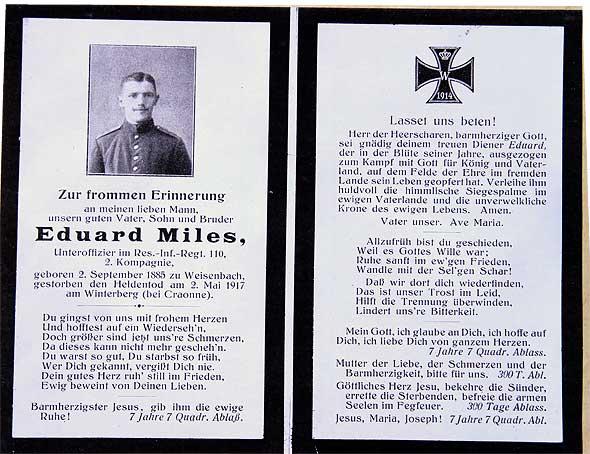 carte de décès du sergent Eduard Miles