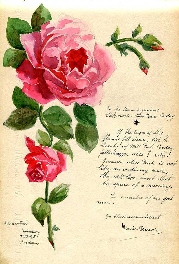 poème et peinture en reconnaissance de soins