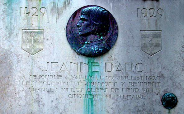 plaque commémorative de Jeanne d'Arc à Vailly apposée en 1929