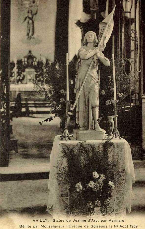 Statue de Jeanne d'Arc en 1909 à Vailly