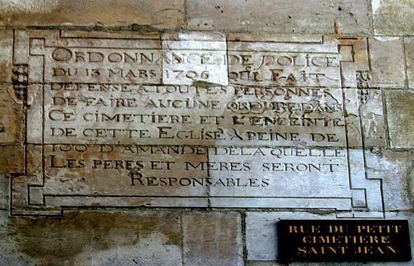 plaque d'ordonnance de police publique en 1706