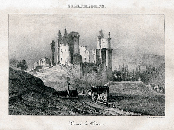 ruines du château de Pierrefonds vers 1830