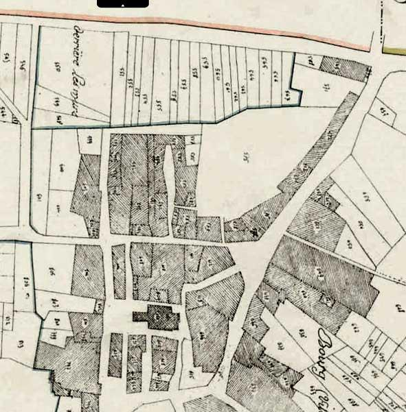 gros plan sur un extrait du cadastre de 1832 ; AD Aisne, 3P 0117-_08, section C, 2e feuille. Réorienté au nord.