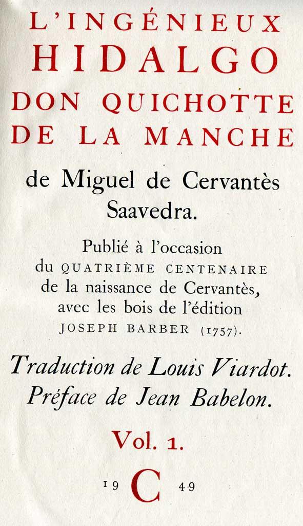 Don Quichotte édition du Club français du livre