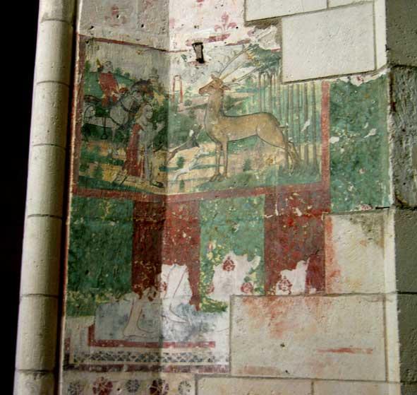 le cerf de saint Hubert, église N.-D. d'Ambleny, fresque composite. Début XVIe siècle probable.