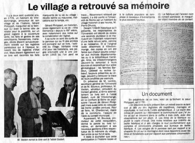 article de l'Union après remise du nouveau Livre Vert le 15 décembre 1990